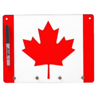 Flag of Canada Dry Erase Board With Key Ring Holder