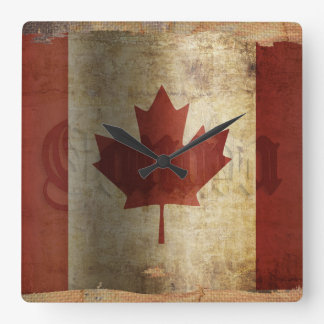 Flag of Canada / Grunge... Square Wall Clock