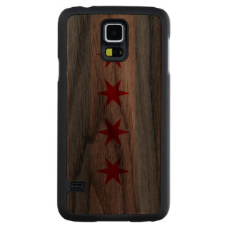 Flag of Chicago Carved® Walnut Galaxy S5 Case