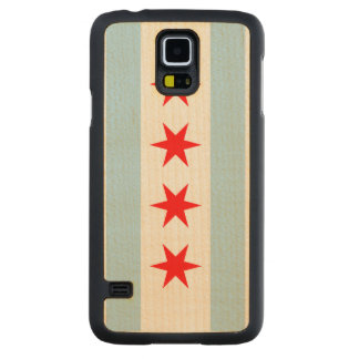 Flag of Chicago Carved® Maple Galaxy S5 Case