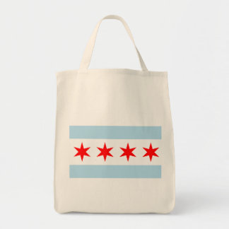 Flag of Chicago Organic Grocery Tote Canvas Bags
