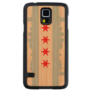 Flag of Chicago Skyline Carved® Cherry Galaxy S5 Slim Case