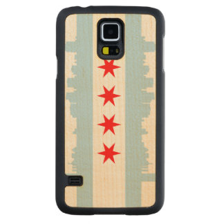 Flag of Chicago Skyline Carved® Maple Galaxy S5 Case