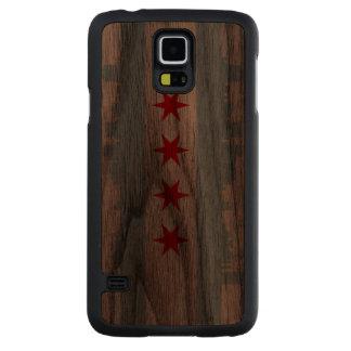 Flag of Chicago Skyline Carved® Walnut Galaxy S5 Slim Case