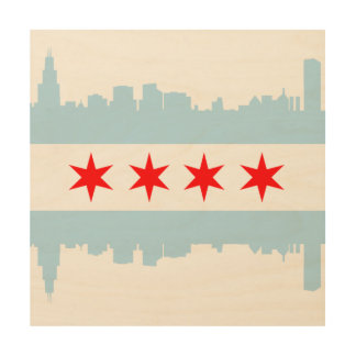 Flag of Chicago Skyline Wood Wall Art