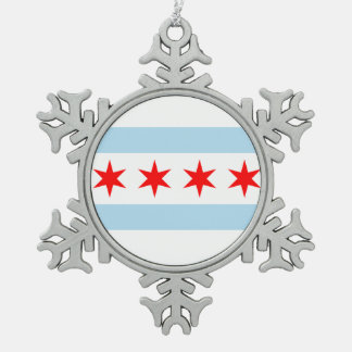 Flag of Chicago Snowflake Pewter Christmas Ornament