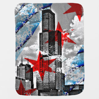 Flag of Chicago Willis Sears Tower Pramblankets