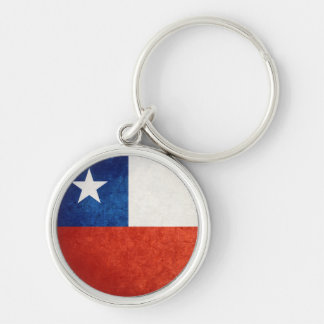 Flag of Chile Silver-Colored Round Key Ring