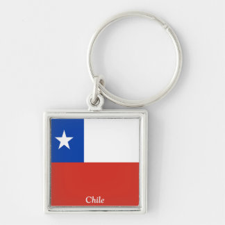 Flag of Chile Silver-Colored Square Key Ring