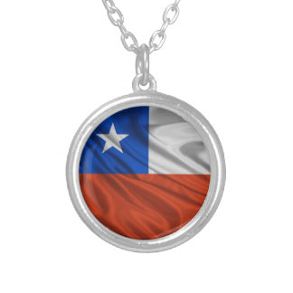 Flag of Chile Silver Plated Necklace