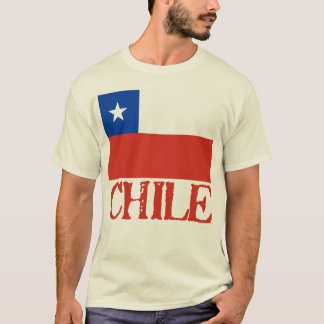 Flag of Chile with the Name Chile Tshirts, Buttons T-Shirt