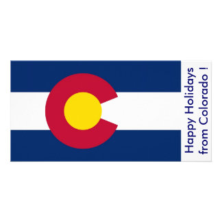 Flag of Colorado Happy Holidays from U S A Customized Photo Card