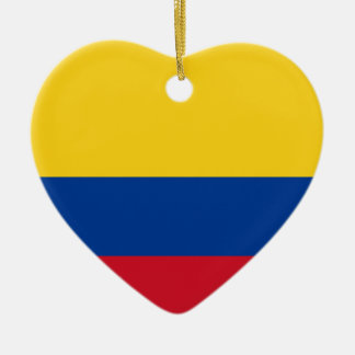 Flag of Columbia, Republic of Colombia Ceramic Heart Decoration