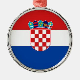 Flag of Croatia Silver-Colored Round Decoration
