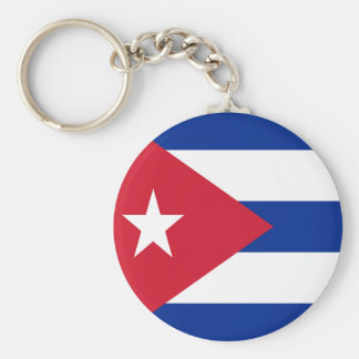 Flag of Cuba Basic Round Button Key Ring