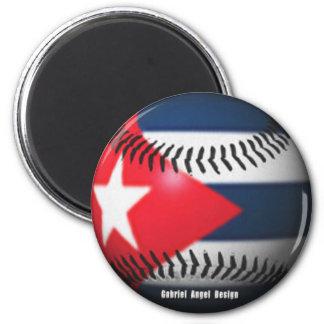 Flag of Cuba on a Baseball 6 Cm Round Magnet