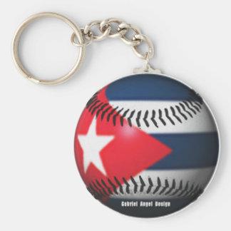 Flag of Cuba on a Baseball Basic Round Button Key Ring