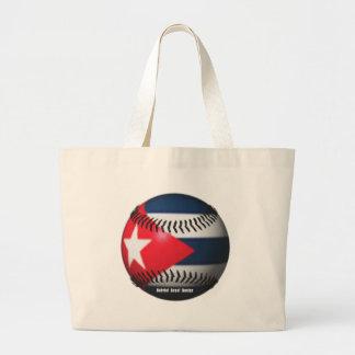 Flag of Cuba on a Baseball Jumbo Tote Bag