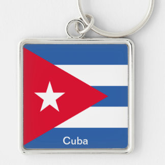 Flag of Cuba Silver-Colored Square Key Ring