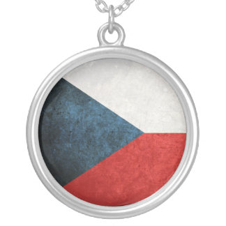 Flag of Czech Republic Silver Plated Necklace