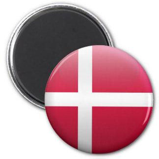 Flag of Denmark 6 Cm Round Magnet