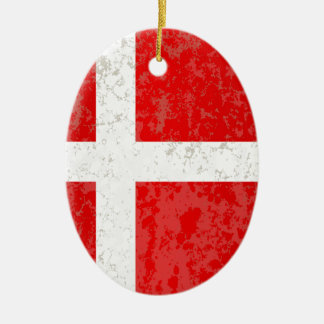 Flag of Denmark Grunge Christmas Ornament