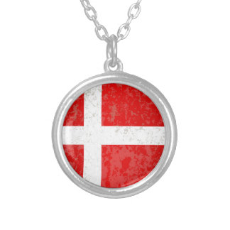 Flag of Denmark Grunge Silver Plated Necklace