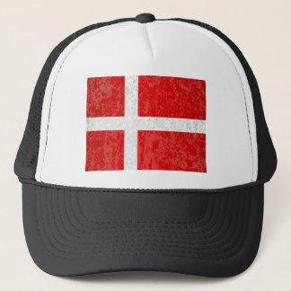 Flag of Denmark Grunge Trucker Hat