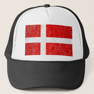 Flag of Denmark Grunge Trucker Hat