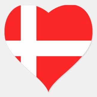 Flag of Denmark Heart Stickers