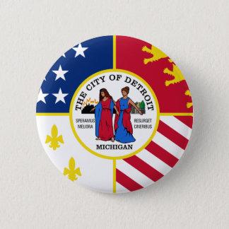 Flag of Detroit, Michigan 6 Cm Round Badge