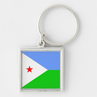 Flag of Djibouti Silver-Colored Square Key Ring