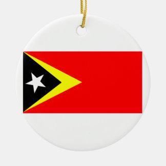 Flag of East Timor Round Ceramic Decoration