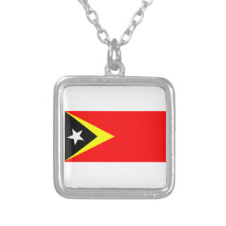 Flag of East Timor Silver Plated Necklace