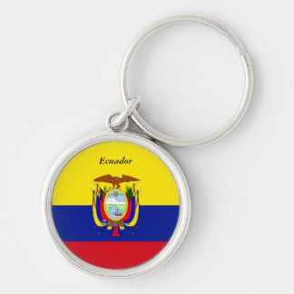 Flag of Ecuador custom design Silver-Colored Round Key Ring