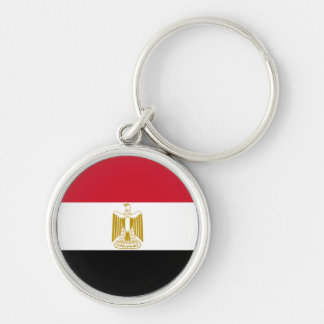 Flag of Egypt Silver-Colored Round Key Ring