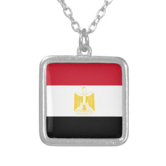 Flag of Egypt Silver Plated Necklace