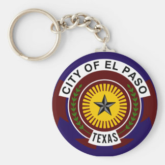 Flag of El Paso Basic Round Button Key Ring