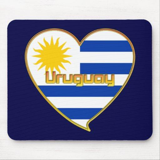 Flag of elegant URUGUAY heart and Sun of Mayo Mousepads