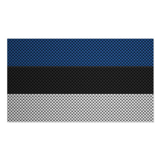 Flag of Estonia with Carbon Fiber Effect Business Card Templates
