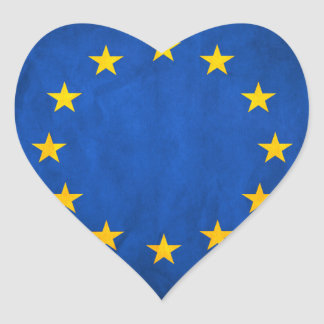 Flag of European Union, EU Flag, Flag of Europe Heart Sticker