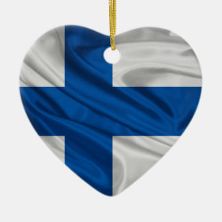 Flag of Finland Ceramic Heart Decoration