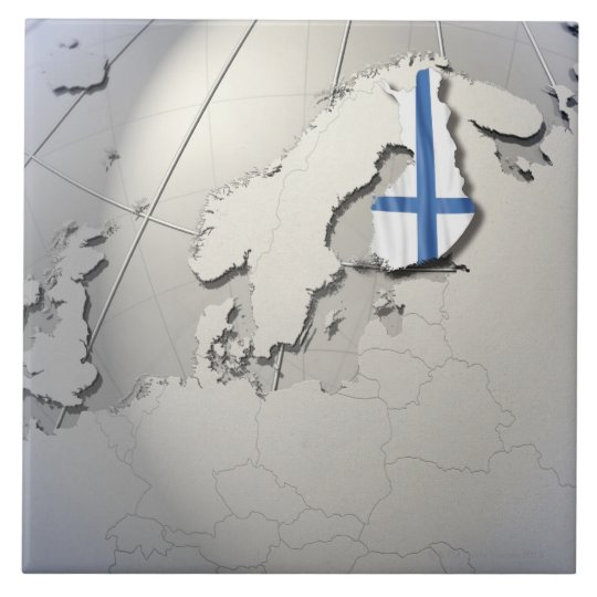 Flag of Finland Large Square Tile