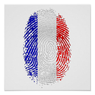 Flag of France French pride Fingerprint gifts Poster