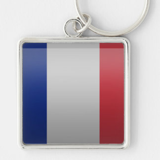 Flag of France Silver-Colored Square Key Ring