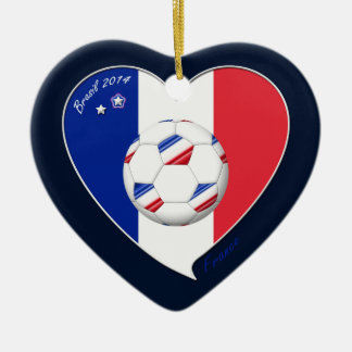 Flag of FRANCE national SOCCER of world 2014 Ceramic Heart Decoration
