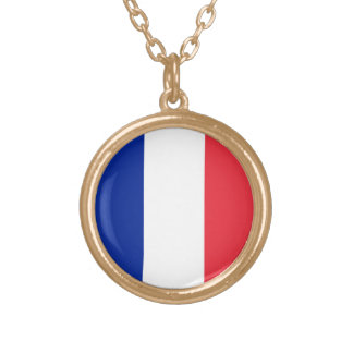 Flag of France, Tricolour National Flag Gold Plated Necklace