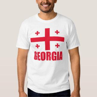 Flag Of Georgia Red Text White Tshirts