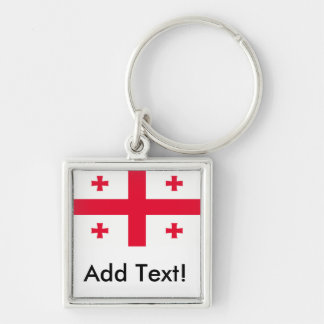 Flag of Georgia Silver-Colored Square Key Ring