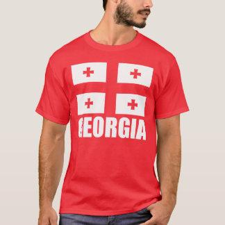 Flag of Georgia White Text Red T-Shirt